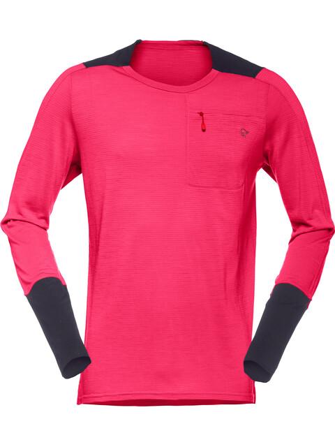 Norrøna Skibotn Wool Equaliser Fietsshirt lange mouwen Heren roze